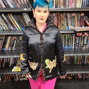 Vintage Silk & Fur Edged Kimono Cat Jacket